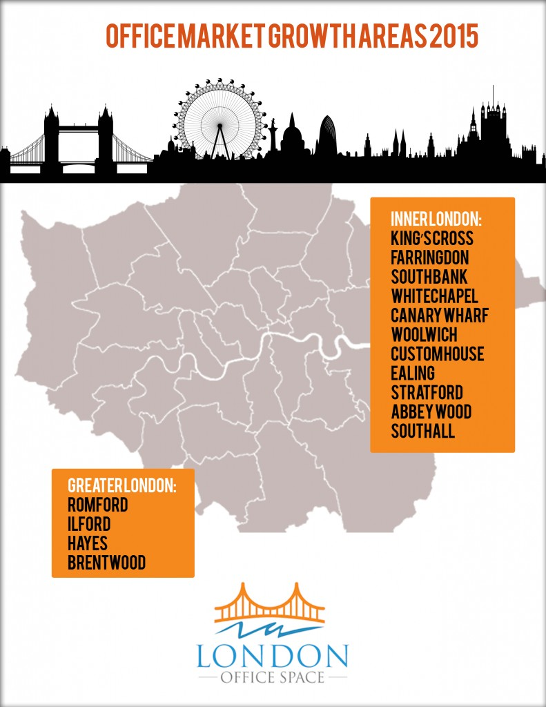 London office space market growth areas in 2015 infographic